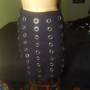 Navy Pencil Skirt with Grommet Detail NWT sz 8